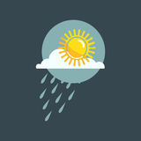 Weather rainy cloudy icon vector. Weather rainy cloudy icon vector illustration. Season thermometer design thunder temperature sign. Meteorology sky or sun Royalty Free Stock Photography