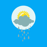Weather rainy cloudy icon vector. Weather rainy cloudy icon vector illustration. Season thermometer design thunder temperature sign. Meteorology sky or sun Royalty Free Stock Photos