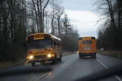 WEATHER RAINY DAY IN BUCKLEY WASHINGTON USA. BUCKLEY/WASHINGTON /USA- 28,November 2017. Rainy weather and school bus and transprtation in rainy weather in royalty free stock photography