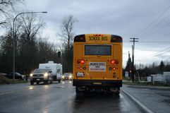 WEATHER RAINY DAY IN BUCKLEY WASHINGTON USA. BUCKLEY/WASHINGTON /USA- 28,November 2017. Rainy weather and school bus and transprtation in rainy weather in royalty free stock image