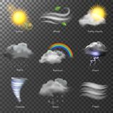 Weather realistic 3d icons vector. set Sun, cloud, rainbow, storm wind Royalty Free Stock Photo