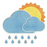 Weather recycled papercraft on paper background Royalty Free Stock Images