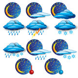 The Weather Report. A set of 11 icons showing the nightly weather forecast Stock Photography