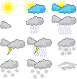 Weather Report. Funny weather report icon set Stock Photo