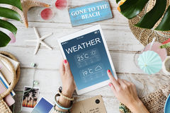 Weather Report Forecast Temperature Concept. Beach Waether Forecast Climate Concept Royalty Free Stock Photos