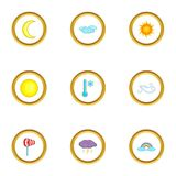 Weather report icons set, cartoon style Royalty Free Stock Images