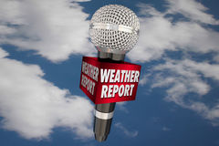 Weather Report Microphone Cloudy Sky Update News. 3d Illustration Stock Photos