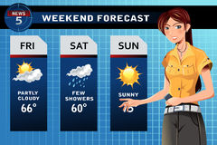 Weather reporter. A vector illustration of a TV weather reporter at work Stock Image