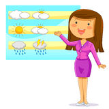 Weather reporter. Female weather reporter presenting the weather forecast Royalty Free Stock Photos