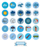 Weather round filled line icons set Stock Photo