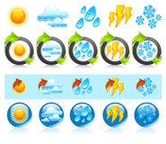 Weather round icons Royalty Free Stock Photos