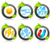 Weather round icons & arrow Stock Photo