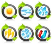 Weather round icons & arrow Stock Photo