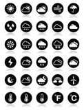 Weather round  icons set Royalty Free Stock Image
