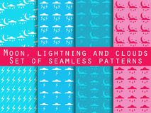 Weather seamless pattern with clouds and lightning. Vector Stock Photo
