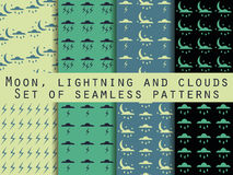 Weather seamless pattern. The clouds with lightning. Vector Stock Photography