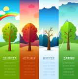Weather seasons icons on nature ecology background.  Vector flat design. Concept Royalty Free Stock Photos