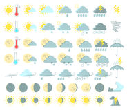 Weather set of colored icons. Rain and thunderstorms, sunny, tor. Nado, tsunami, volcanic eruption. Vector Stock Image