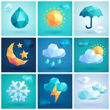 Weather set - geometric icons. Royalty Free Stock Images