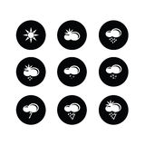 Weather set icon on black and white vector illustration Royalty Free Stock Photography