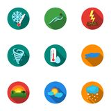 Weather set icons in flat style. Big collection of weather vector symbol stock illustration Royalty Free Stock Images