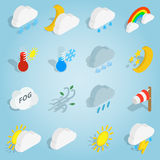 Weather set icons, isometric 3d style Royalty Free Stock Photos