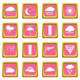 Weather set icons pink Royalty Free Stock Photo