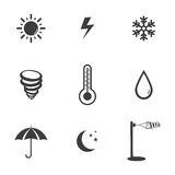 Weather set icons. Weather set Vector icons  on white background. Flat vector illustration in black. EPS 10 Stock Images