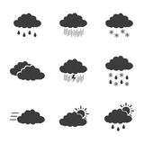 Weather set icons. Weather set Vector icons  on white background. Flat vector illustration in black. EPS 10 Royalty Free Stock Photos