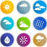 Weather sign icons. Collection of weather sign icons isolated on white Royalty Free Stock Images