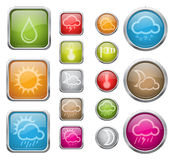Weather sign icons set. Vector illustration of vector glossy buttons with weather sign icons Stock Images