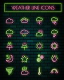 Weather sign thin neon glowing line icons set.vector illustration.  stock illustration