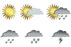 Weather signs. 3D rendering of weather signs on white background Stock Photo
