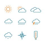 Weather simple vector icon set Stock Photos