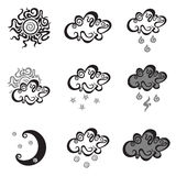 Weather simple vector icons Stock Images