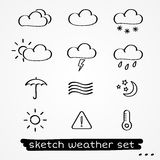 Weather sketch set Royalty Free Stock Photography
