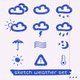 Weather sketch set Royalty Free Stock Photos