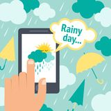 Weather smart phone rain Royalty Free Stock Photos
