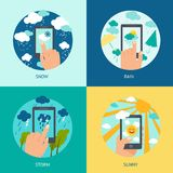 Weather smart phone set Royalty Free Stock Photos