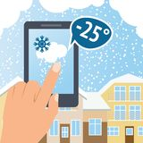 Weather smart phone snow Royalty Free Stock Photo