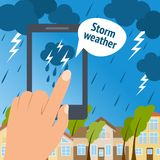 Weather smart phone storm Stock Photos
