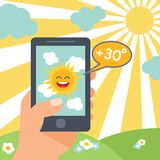 Weather smart phone sun Stock Photo