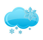 Weather snow cloud symbol blue color Royalty Free Stock Photos