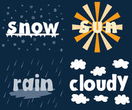 Weather. Snow, sun, rain, cloudy. Weather set logos. Vector illustration Stock Images