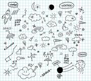 Weather and space hand drawn doodles stock illustration