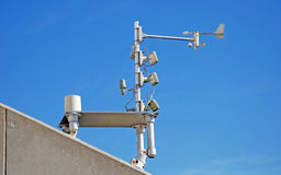Weather Station. Sensors mounted on top of a building Royalty Free Stock Images