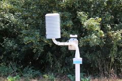 Weather station along the dutch motorway at Moordrecht to measure and warn at risk of slippery roads.  royalty free stock photo