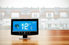 Weather station device with weather conditions Stock Image