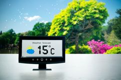 Weather station device with weather conditions Stock Images