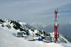 Weather station on the mountain Royalty Free Stock Photo